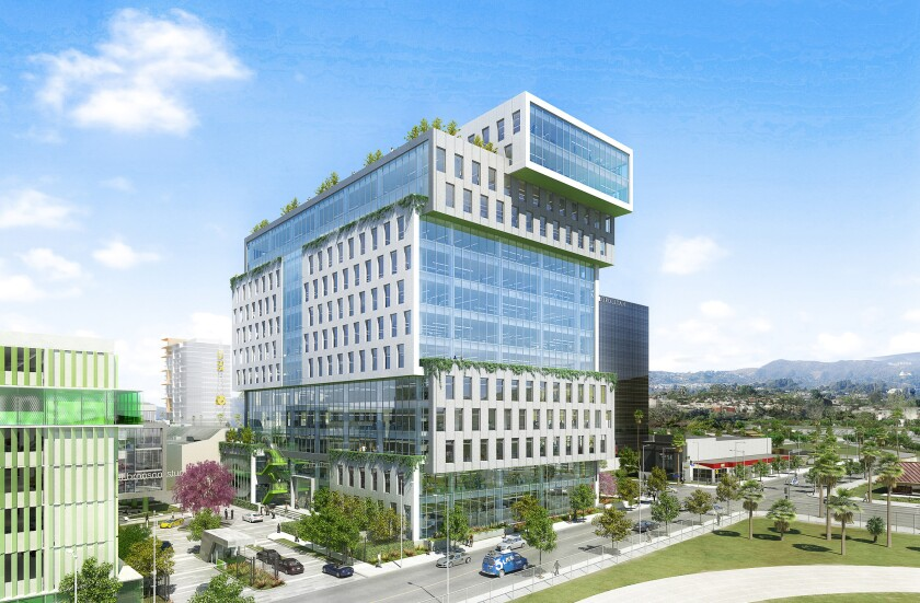 The Icon at Sunset Bronson Studios, a 14-story office building, will be built at the corner of Sunset Boulevard and Van Ness Avenue in Hollywood by landlord Hudson Pacific Properties. Netflix will be among its tenants, leasing 200,000 square feet of office space.