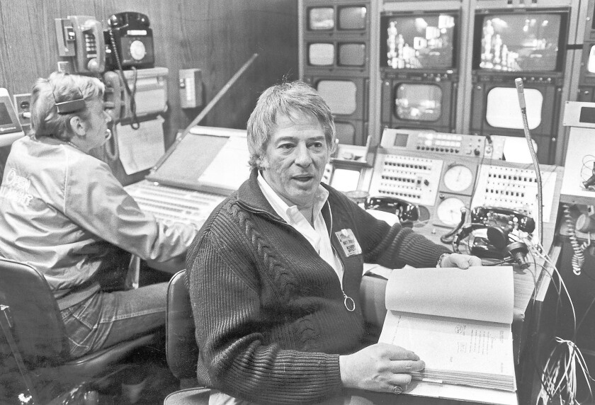Marty Pasetta in the control room at the Academy Awards in 1982. Pasetta directed every Oscars broadcast from 1972 to 1988.