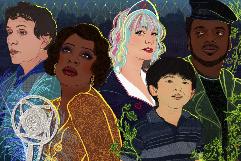 Illustration of some 2021 Oscar nominees and film cast
