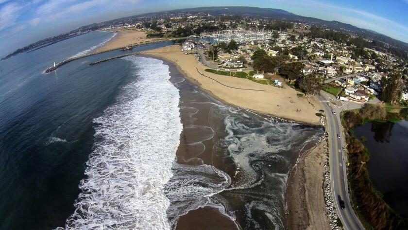 The altered coastline at Twin Lakes Beach in Santa Cruz following El Nino-powered storms.