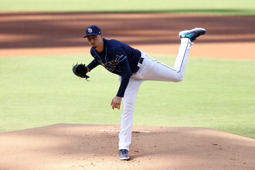 Blake Snell during the first inning of Game Six of the ALCS last fall at Petco Park.