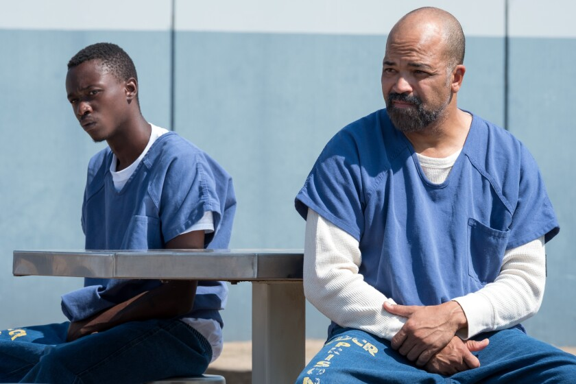 """Ashton Sanders, left, and Jeffrey Wright as son and father in a scene from the Netflix drama """"All Day and a Night."""""""