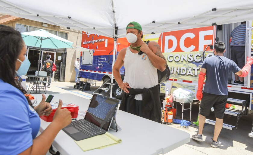 DCF opens San Diego's largest shower trailer for the homeless.