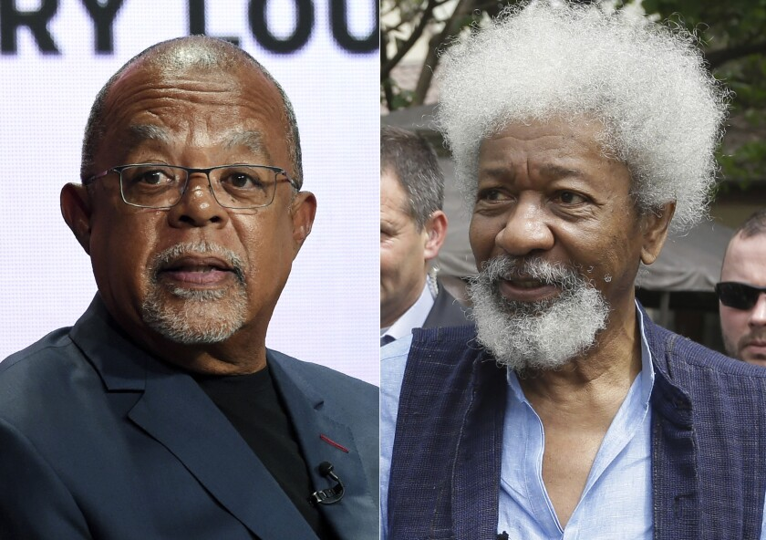 """Dr. Henry Louis Gates Jr., host and executive producer of the PBS series """"Finding Your Roots,"""" takes part in a panel discussion during the 2019 Television Critics Association Summer Press Tour on July 29, 2019, in Beverly Hills, Calif., left, and Nigerian Nobel Laureate professor Wole Soyinka appears in Lagos, Nigeria on Feb. 9, 2016. Soyinka will be attending this fall's PEN America literary gala. He will fly in from his native Nigeria to help present an award to the author, scholar and filmmaker Henry Louis Gates Jr. (AP Photo)"""