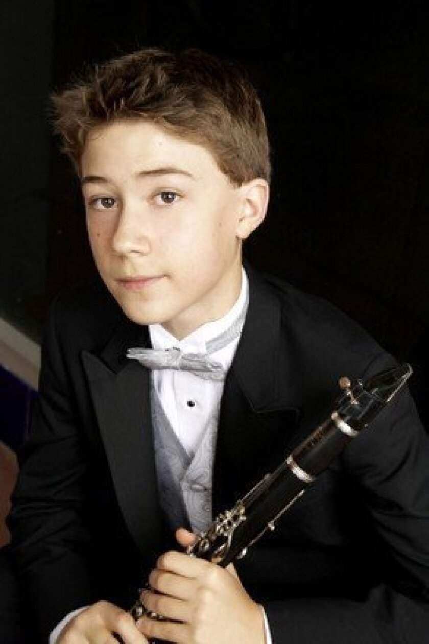 Clarinet prodigy Andrew Moses, 13, of Los Angeles will perform March 15 at the Encinitas Library. CREDIT: Giny Daniel