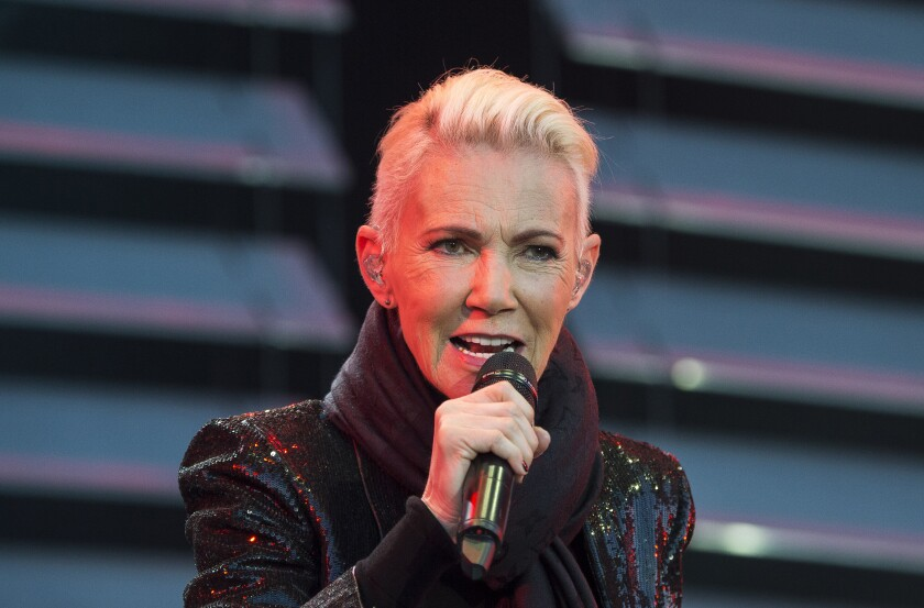 FILE - In this file photo dated July 18, 2015, Marie Fredriksson, singer of the pop duo Roxette. Fredriksson has died, aged 61 after a long illness, according to an announcement Tuesday Dec. 10, 2019. (Suvad Mrkonjic / TT via AP)