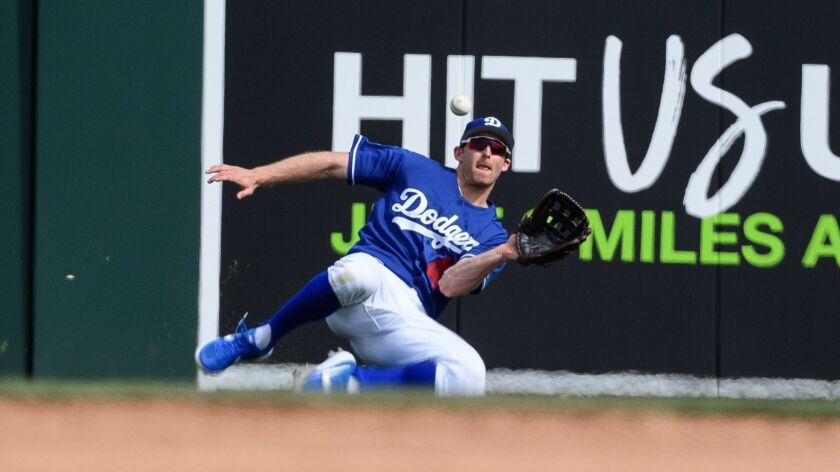 Brad Miller of the Dodgers catches a fly ball against the Seattle Mariners at Camelback Ranch on March 9, 2019.