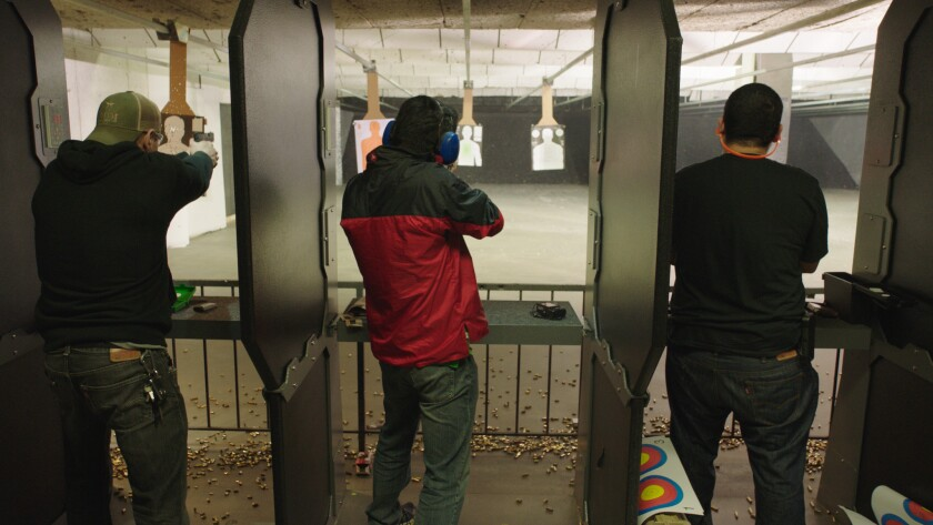"""Target practice at a driving range in the documentary """"Under the Gun."""""""