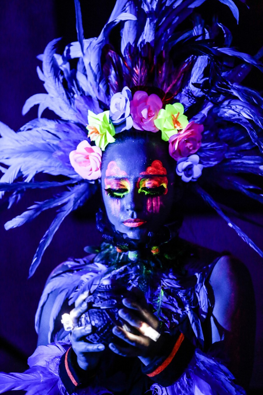 """Sheena Castillo performs in """"El Circo Anahuac,"""" a multimedia classical music and theater production which tells the story of the birth of the twin volcanoes outside Mexico City, Popocaltepetl and Ixtlacihuatl."""