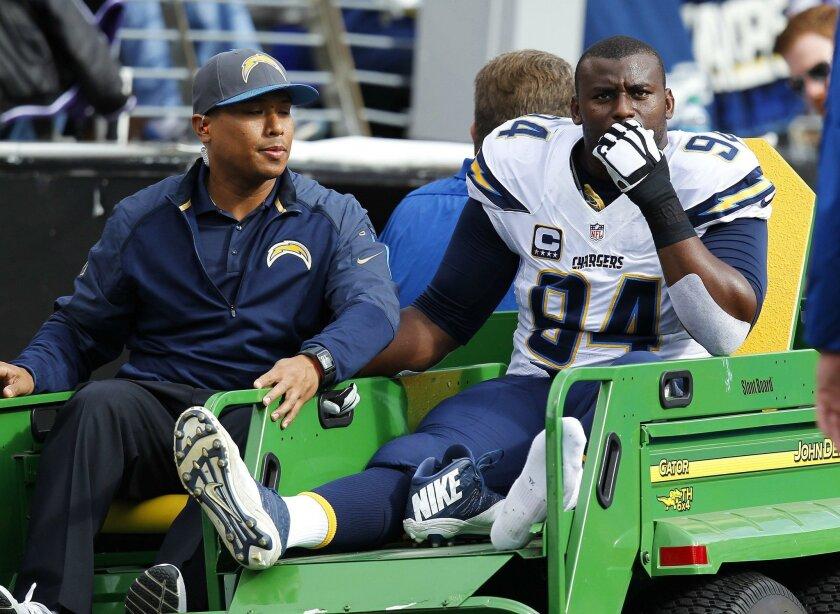 BALTIMORE, MD-NOVEMBER 1, 2015 | Chargers Cory Liuget is carted off with an injury against the Ravens.The Ravens won 29-26.   | (K.C. Alfred/ San Diego Union-Tribune