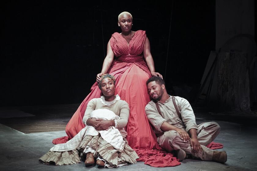 "Mildred Langford, Sha'Leah Nikole Stubblefield (in red), and Derek Jackson in ""American Saga â"