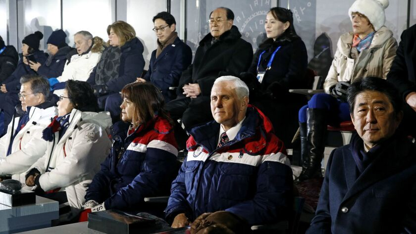 Vice President Mike Pence sits in front of a delegation from the North Korean government at the Pyeongchang Winter Games opening ceremony on Friday.