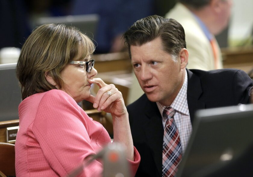 A bill co-authored by state Sen. Brian Jones, R-Santee, right, has been amended.