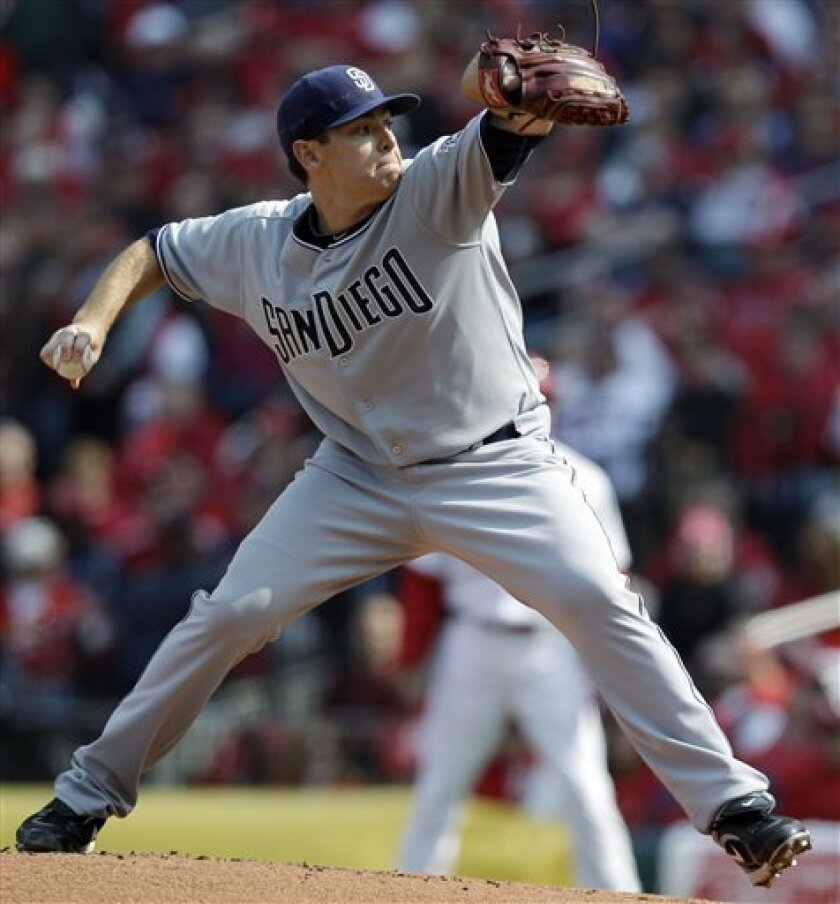 San Diego Padres starting pitcher Tim Stauffer throws during the first inning of a baseball game against the St. Louis Cardinals on Thursday, March 31, 2011, in St. Louis. (AP Photo/Jeff Roberson)