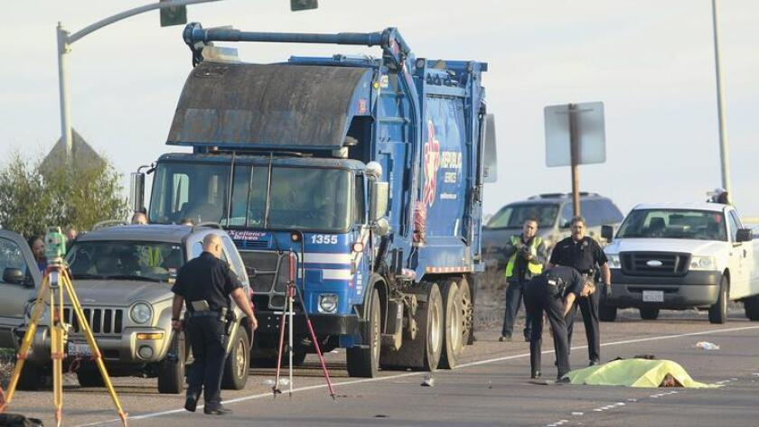 A pedestrian was struck and killed by a trash truck in 2014 while walking on an off-ramp along Interstate 8.