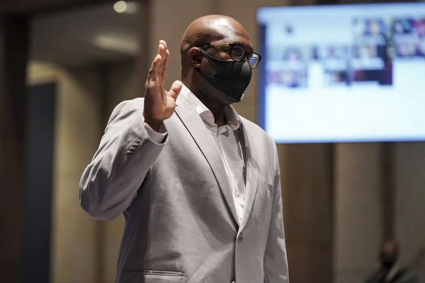 Philonise Floyd, a brother of George Floyd, is sworn in during a House Judiciary Committee hearing on proposed changes to police practices and accountability on Capitol Hill, Wednesday, June 10, 2020, in Washington. (Greg Nash/Pool via AP)