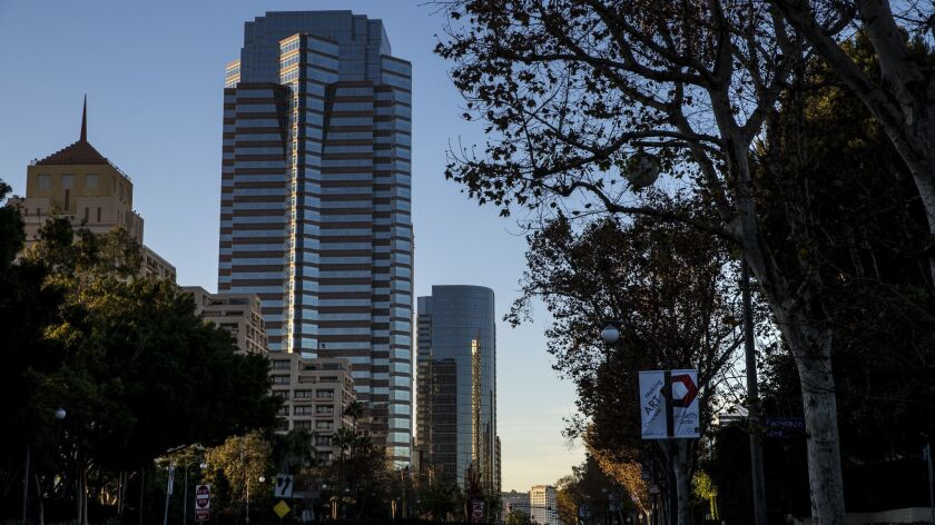 Avenue of the Stars in Century City, where office rents have surpassed their last peak before the Great Recession.