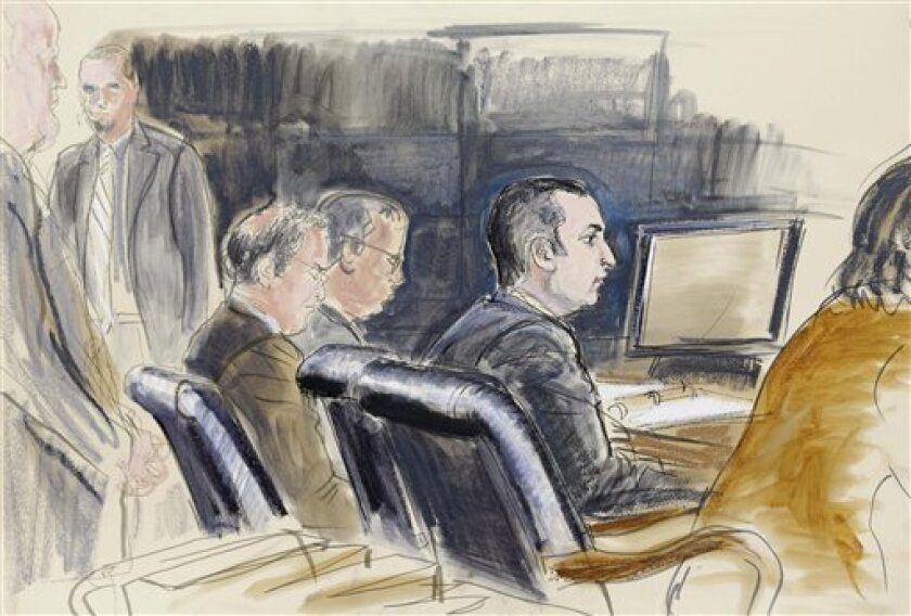 FILE- In this Feb. 25, 2013, courtroom sketch, former New York City Police Officer Gilberto Valle, second right, is seated at federal court in New York. An FBI agent says a New York police officer accused of conspiring with others on the Internet to kill and eat women was cooperative and willing to