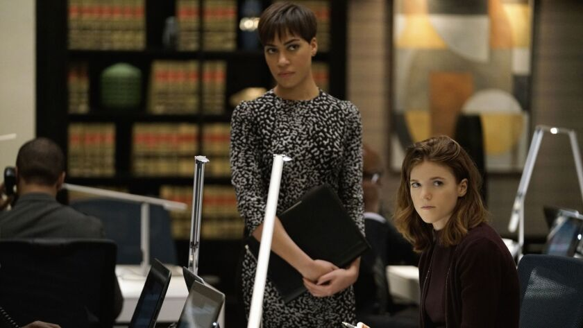 Cush Jumbo as Lucca Quinn, left, and Rose Leslie as Maia Rindell.