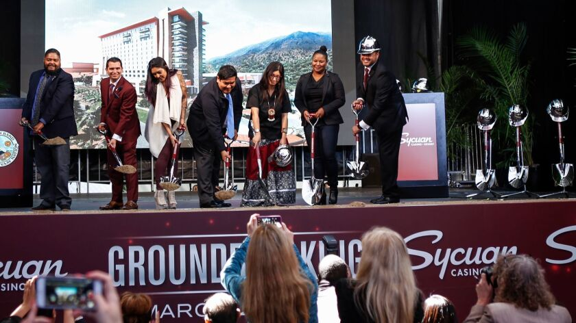 Tribal members from Sycuan Casino broke ground on its first hotel and resort complex in March.
