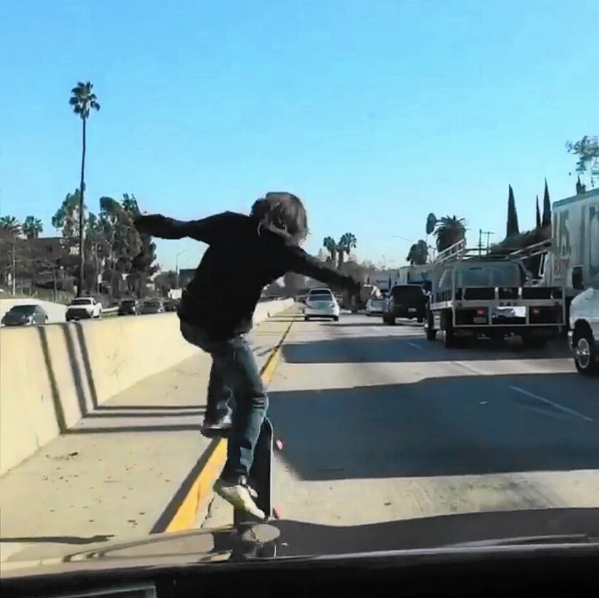 Skateboarders on freeways pose safety risks
