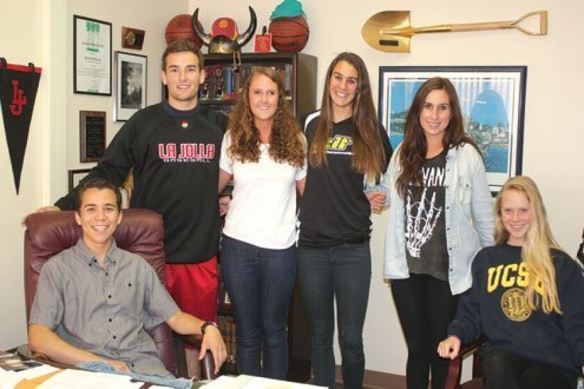 Posing in the La Jolla High School principal's office are graduating seniors Daniel Hamilton, Dylan Walsh, Erin Riley, Karly Zlavic, Lauren Robertson and Margaret Haerr. All plan to attend college in the fall. Photo by Ashley Mackin