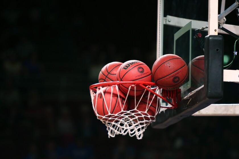 Basketballs in net