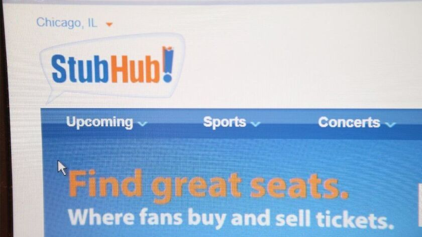 Tickets are offered for sale through StubHub in 2014. Its corporate parent eBay said March 1, 2019, that it is considering selling or spinning off the business.