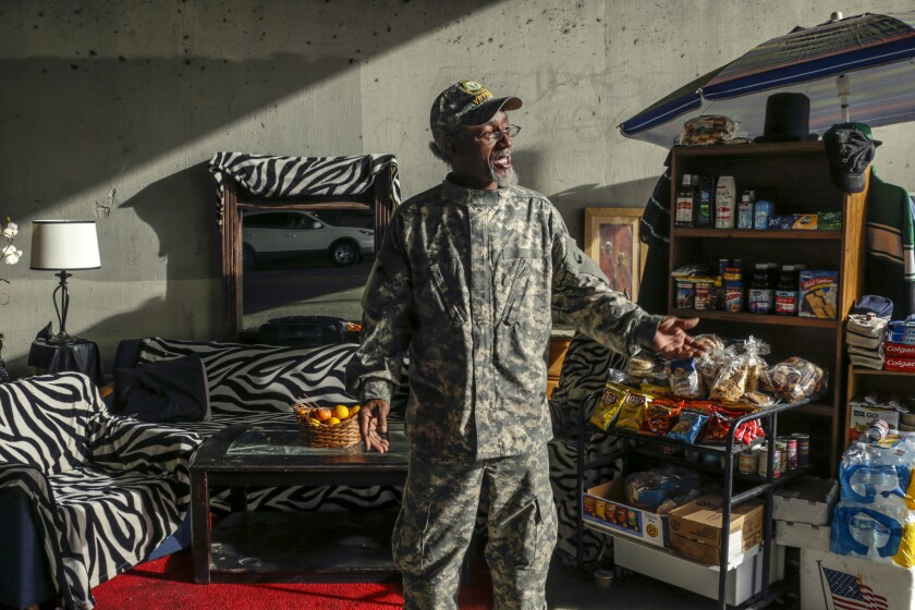 """Ceola Waddell Jr., aka """"Mr. Dice,"""" in his elaborate compound under the 110 Freeway"""
