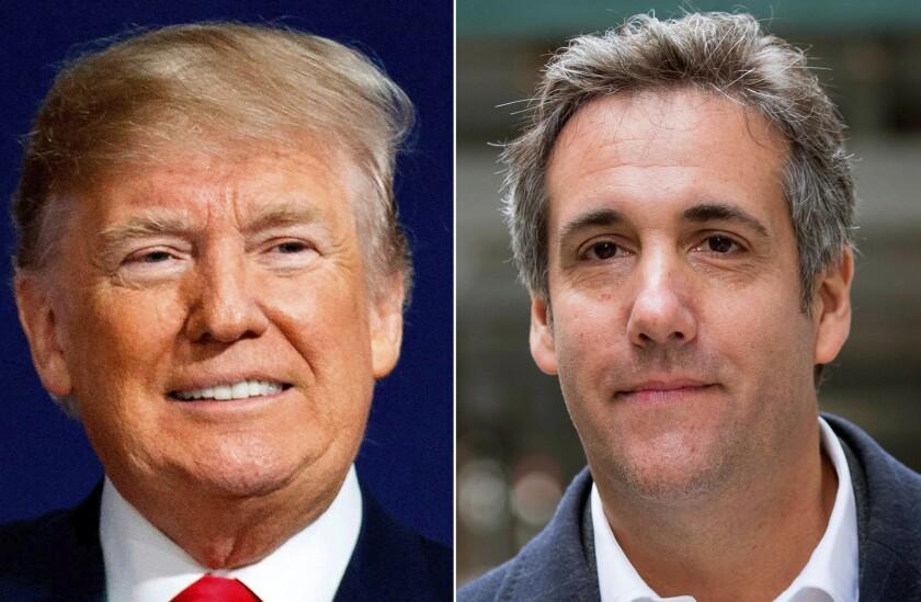 Combinación de fotos sin fecha donde se ve al expresidente estadounidense Donald Trump y Michael Cohen