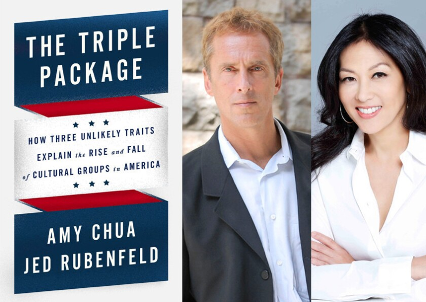 """The cover of """"The Triple Package"""" and authors Jed Rubenfeld and Amy Chua."""