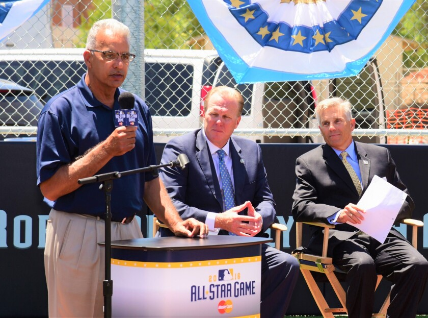 Michael Brunker announcing at All-Star game with Faulcoer, Dick Enberg (2).jpeg
