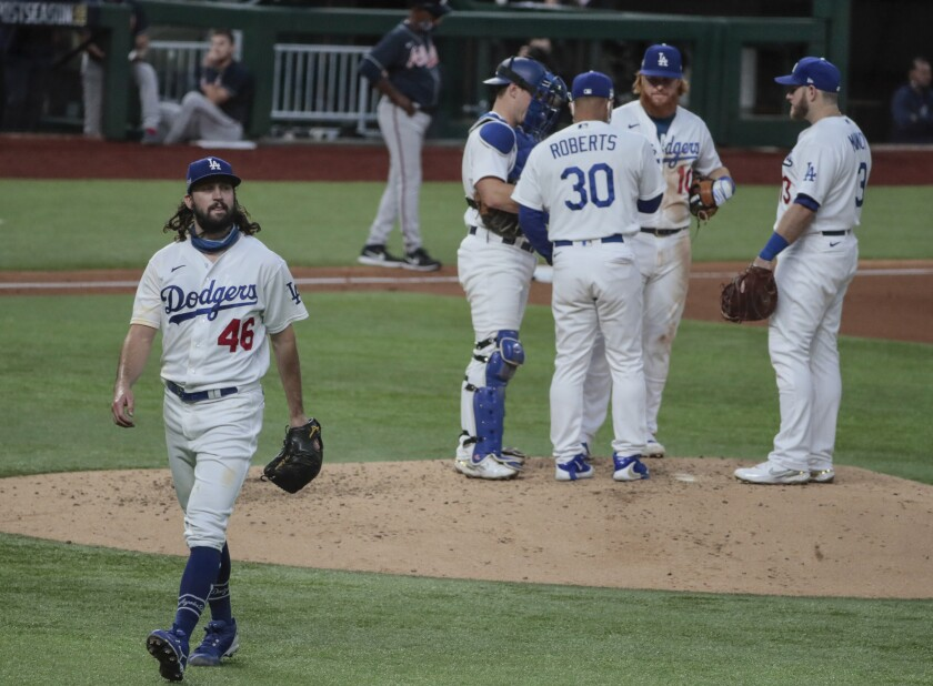 Dodgers starting pitcher Tony Gonsolin leaves the game in the fifth inning.