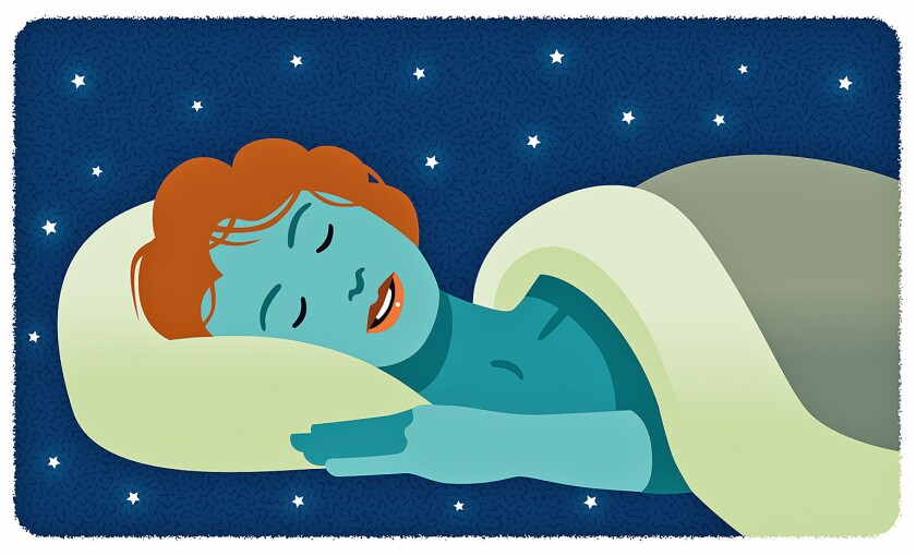 Illustration of a sleeping woman against a starry background