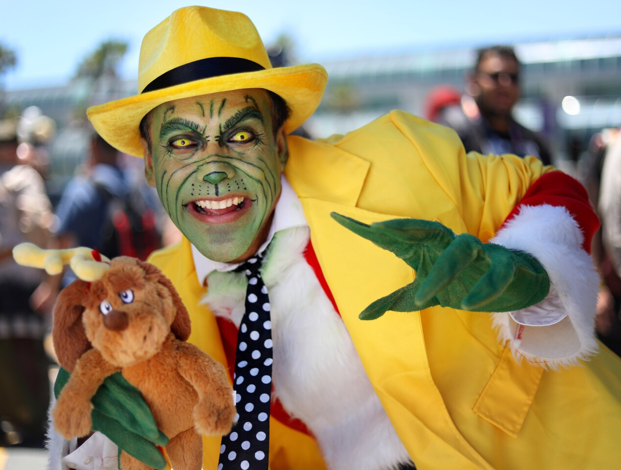 David Perez of Sacramento dressed as The Mask That Stole Christmas at Comic Con International in San Diego on July 20, 2019.
