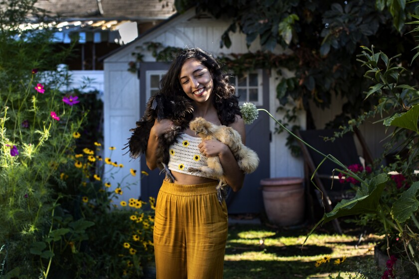 A woman holds chickens in a backyard garden