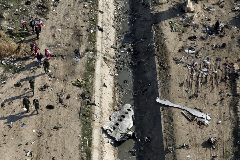 Downed Ukrainian plane debris.