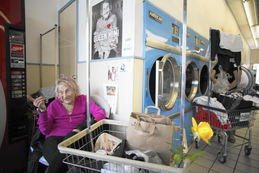 "Marie Elizabeth Haist, ""Queen Mimi,"" is a fixture at Fox Laundry in Santa Monica. A film about her is opening Friday."