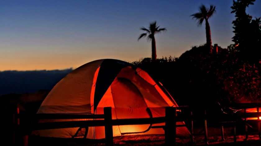 Jalama Beach County Park in Santa Barbara County: tent at the Jalama Beach County Park campground ne