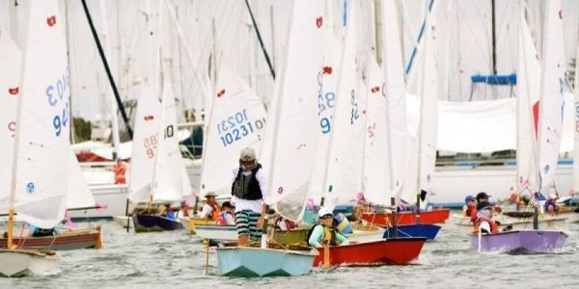 Participants set sail in sabots on July 20 for the 49th annual Dutch Shoe Marathon from San Diego Yacht Club to Coronado Yacht Club.