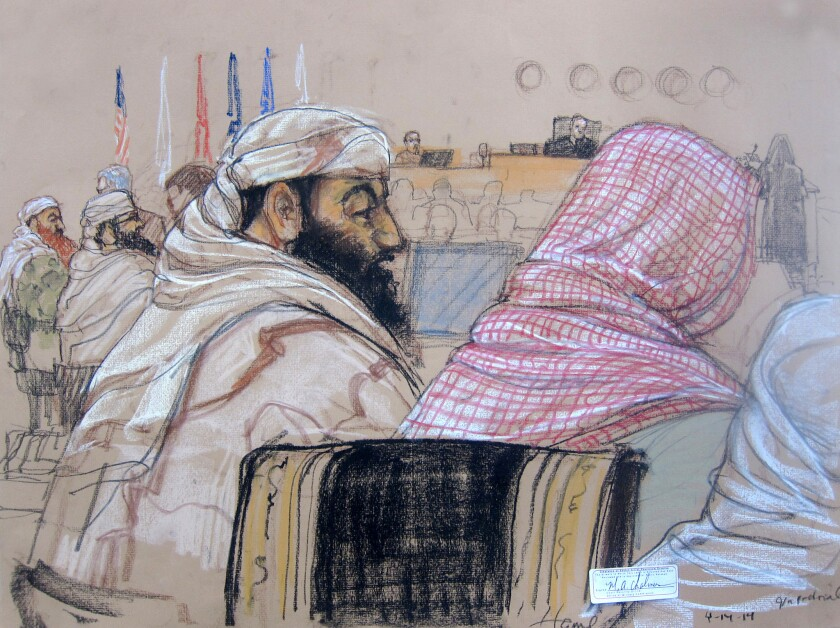 Defendant Ramzi Binalshibh, center, attends a pretrial hearing with other defendants in Guantanamo Bay, Cuba.
