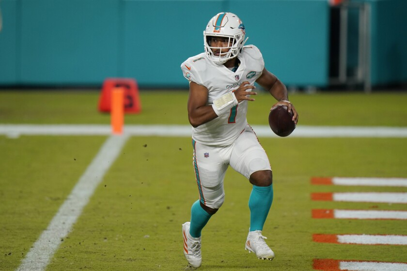 Miami Dolphins quarterback Tua Tagovailoa looks to pass against the New York Jets on Oct. 18, 2020.