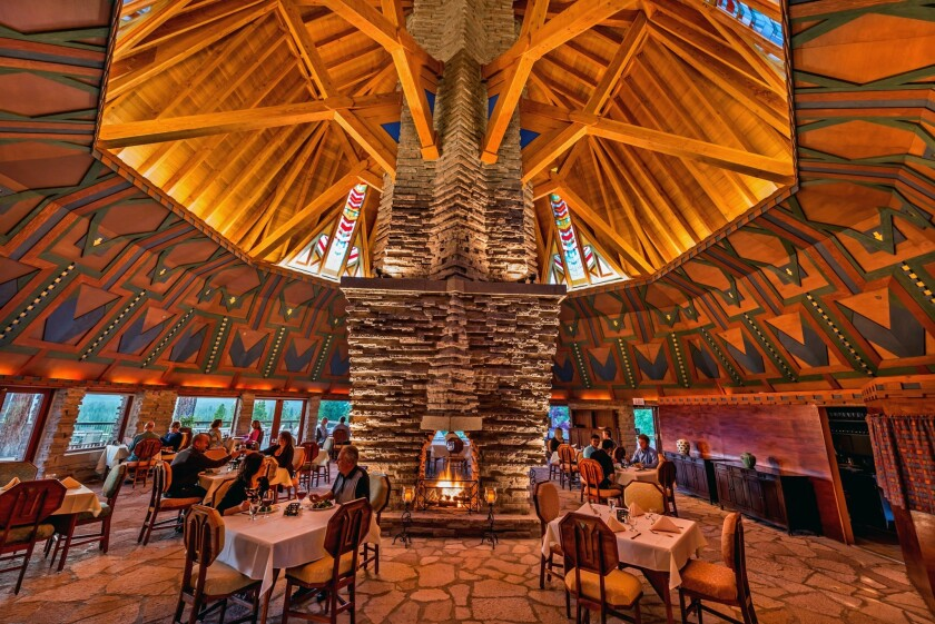 The clubhouse at Nakoma Golf Resort in Clio, Calif., was designed by Frank Lloyd Wright in 1924, intended for Wisconsin but ultimately built at Nakoma in 2001. The Wigwam Room is built around a towering, four-sided fireplace.