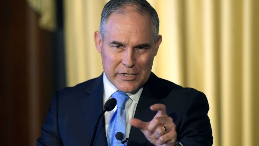 Environmental Protection Agency (EPA) Administrator Scott Pruitt speaks in Washington on Feb. 21.