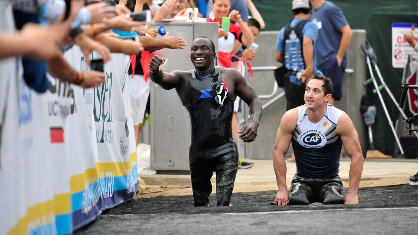 Roderick Sewell and Rudy Garcia-Tolson participating in a past edition of the San Diego Triathlon Challenge.
