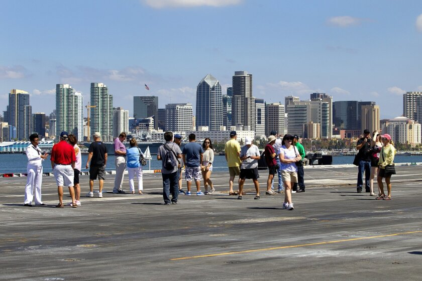 The flight deck of the USS Nimitz with San Diego city skyline in the background.