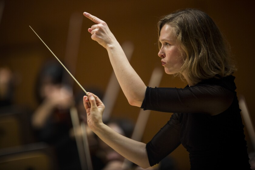 Mirga Grazinyte-Tyla leads the Los Angeles Philharmonic at Walt Disney Concert Hall in December.