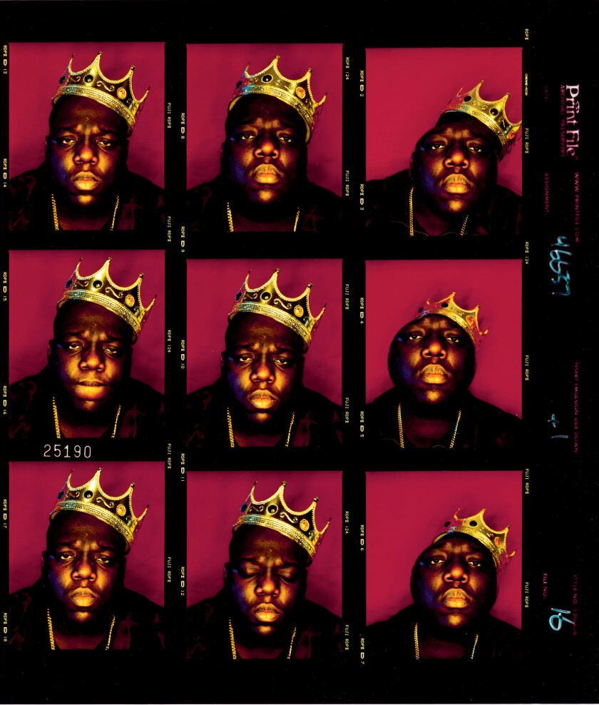 "A contact sheet of photos by Barron Claiborne of Notorious B.I.G. (Biggie Smalls) taken three days before his death, from the new book ""Contact High."""
