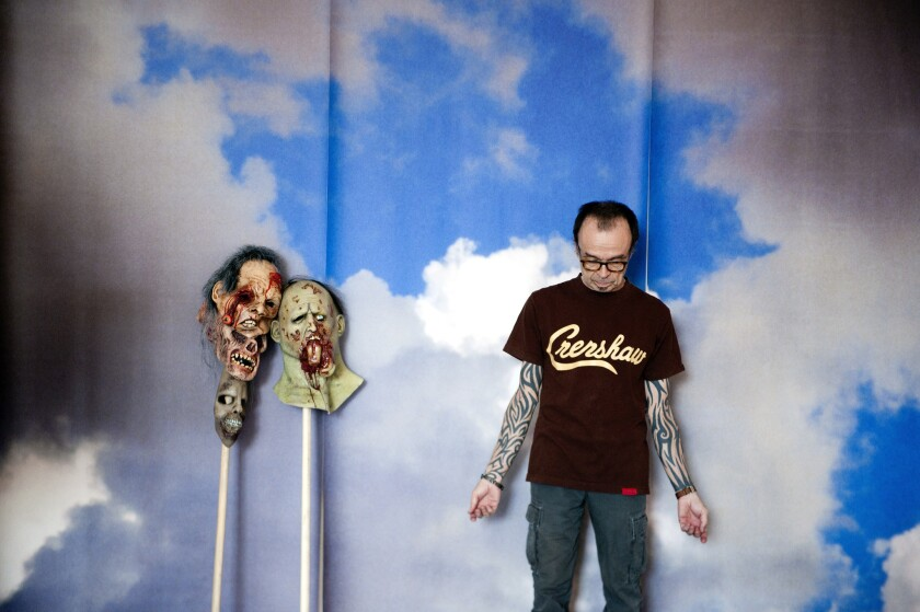 Artist Daniel Joseph Martinez is seen in his Los Angeles studio.