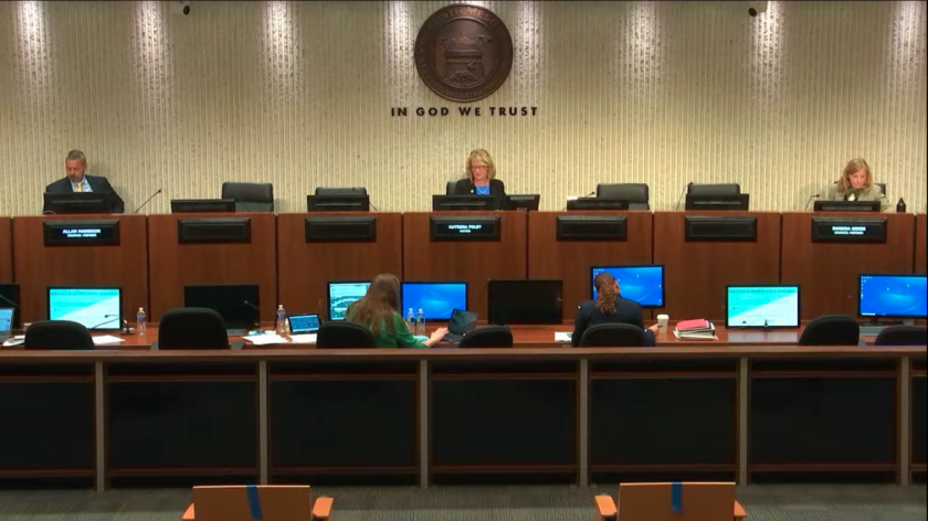 Sitting at least six feet apart, members of the Costa Mesa City Council meet Tuesday night to discuss the city's response to the coronavirus outbreak. Four council members participated remotely.